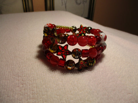 Memory Wire Gold Red Glass Beads Bracelet (B531)