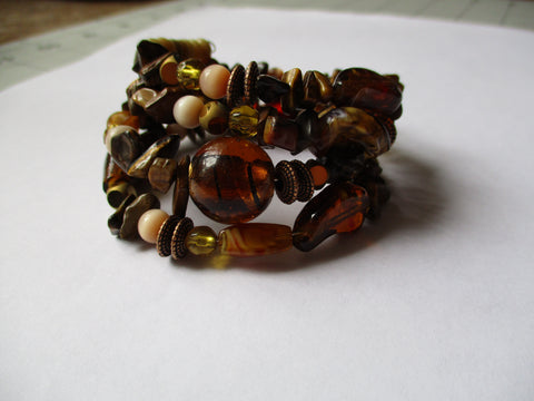 Memory WireMulti Brown Glass Bead Bracelet (B536)