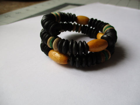 Memory Wire Black Brown Green Wooden Beads Bracelet (B537)