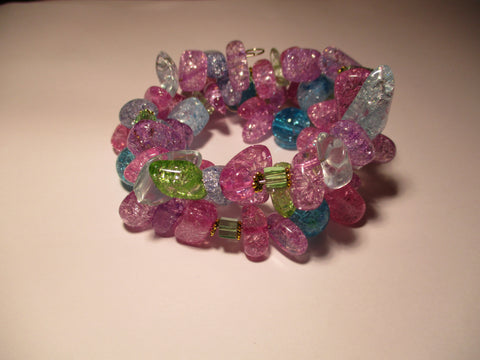 Memory Wire Multi Colored Cracked Stone Bracelet (B541)