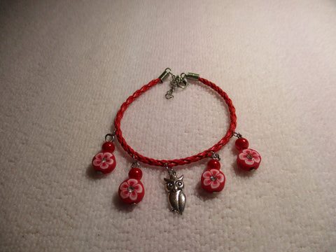 Red Braid leather Red Flowers Silver Owl Pendant Bracelet (B542)