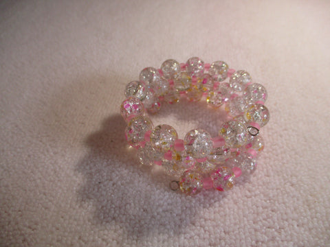 Memory Wire Crackle Pink glass Beads Bracelet (B547)