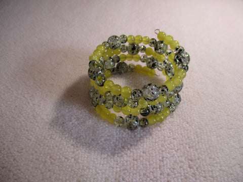 Memory Wire Crackle Black Yellow Glass Beads Bracelet (B548)