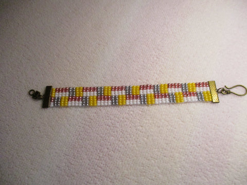 Silver White Yellow Pink Glass Seed Bead Loom Bracelet (B549)