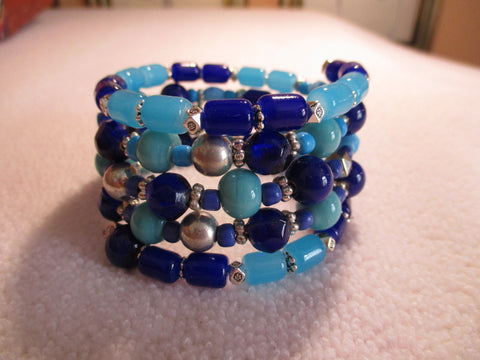 Memory Wire Silver Blue Glass Bead Bracelet (B554)