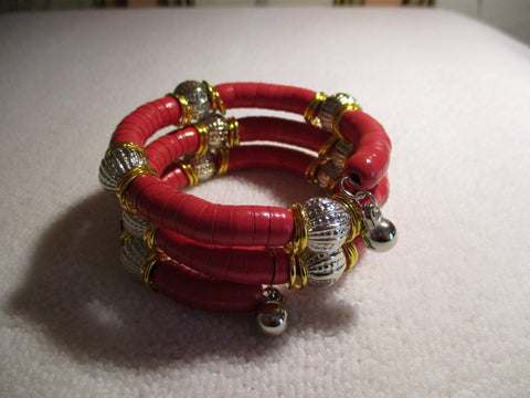 Memory Wire Red Wrap Silver Bead Bracelet (B556)