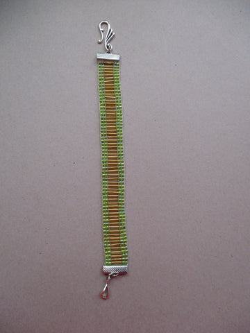 Green Seed Beads Long Gold Seed Beads Loom Bracelet (B564)