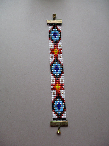 Multi Color Seed Bead Loom Cross Bracelet (B567)