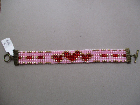 Pink Gold Red Hearts Seed Bead Loom Bracelet (B568)