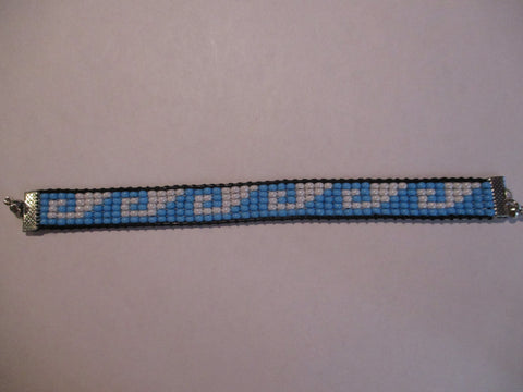 Black Leather Blue White Seed Beads Waves Magnet Bracelet (B575)