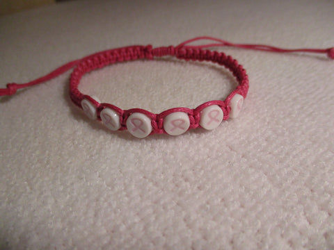 Dark Pink Macrame Cancer Bracelet (B577)