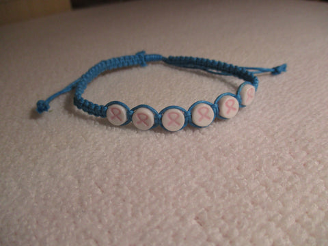Blue Macrame Cancer Bracelet (B578)