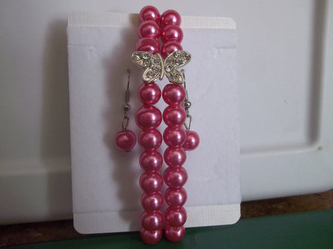 Pink Pearl Silver Butterfly Stretchy Bracelet with Earrings (BE100)