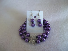 Double Memory Wire Purple Pearl Black seed beads Silver Butterfly Bracelet Earrings (BE102)