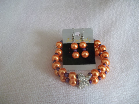Double Memory Wire Orange Pearls Purple seed beads Silver Butterfly Bracelet Earrings (BE103)