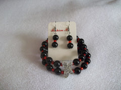 Double Memory Wire Black Glass beads Red seed beads Silver Butterfly Bracelet Earrings (BE104)