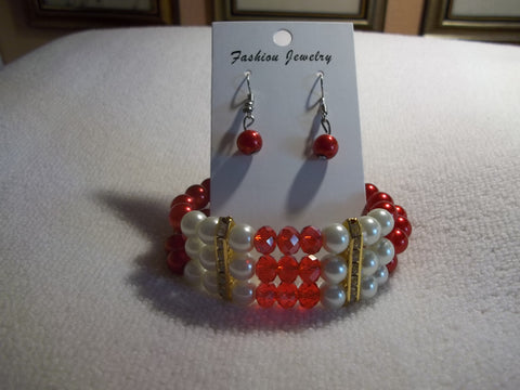 Triple Row Red White Pearl Glass Beads Gold Bling Stretchy Bracelet Earrings (BE107)