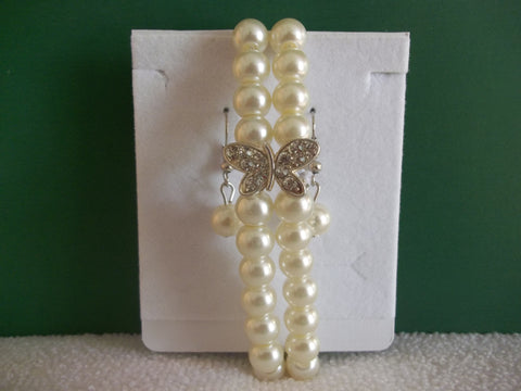 Off White Pearls Silver Butterfly Stretchy Bracelet with Earrings (BE108)