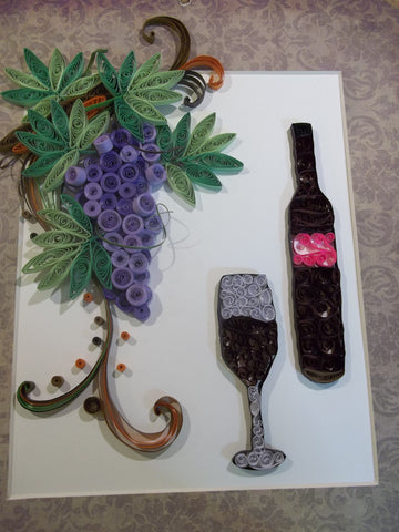 Paper Quill Grapes with Bottle and Glass Picture (C1073)