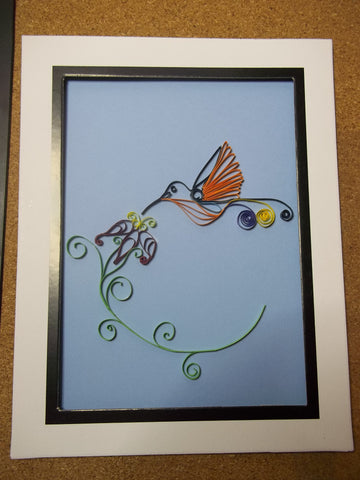 Paper Quilled Humming Bird Picture (C1084)