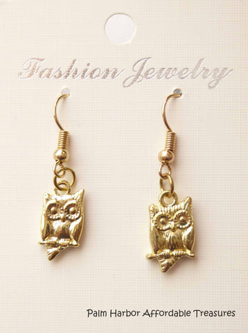 Gold Owl Earrings (E620)