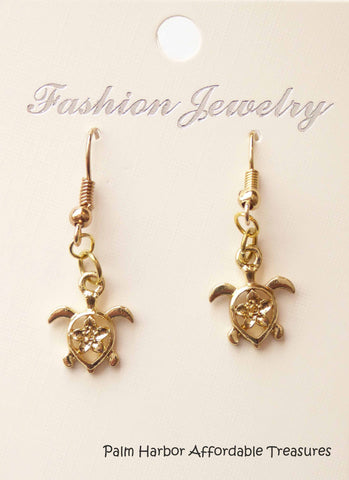 Gold Turtle Earrings (E622)