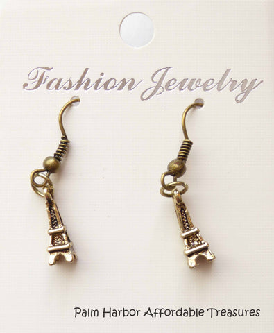 Bronze Eiffel Tower Earrings (E625)