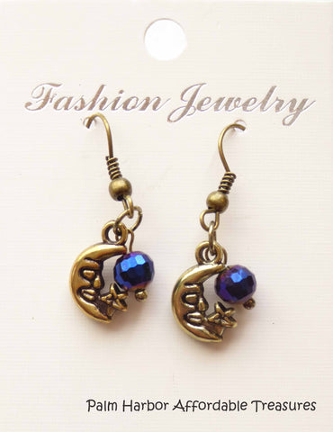Bronze Moon Blue Bead Earrings (E627)