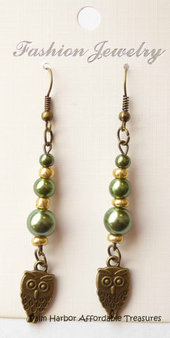 Bronze Green Gold Beads Owl Earrings (E631)