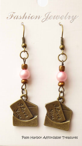 Bronze Letter Envelope Pink Bead Earrings (E634)