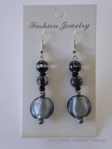 Black Silver Flat Glass Bead Earrings (E636)
