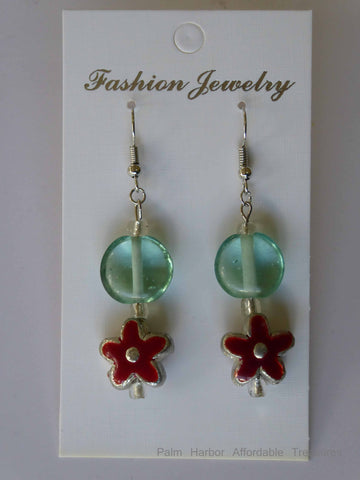 Flat Glass Green Bead Earrings Flowers (E640)