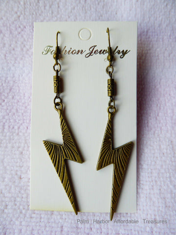 Bronze Lighting Bolt Earrings (E643)