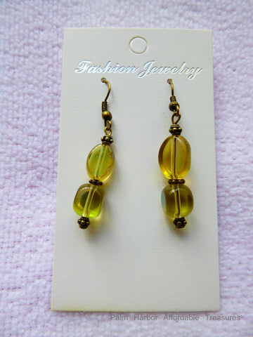 Bronze Yellow Glass Bead Earrings (E644)