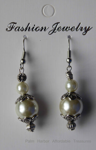 Silver Pearl Metal Cap Earrings (E647)