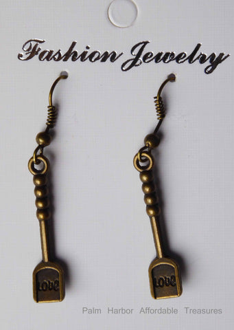 "Bronze ""Love"" Spatula Earrings (E649)"