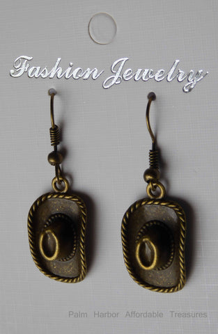 Bronze Cowboy Hat Earrings (E650)