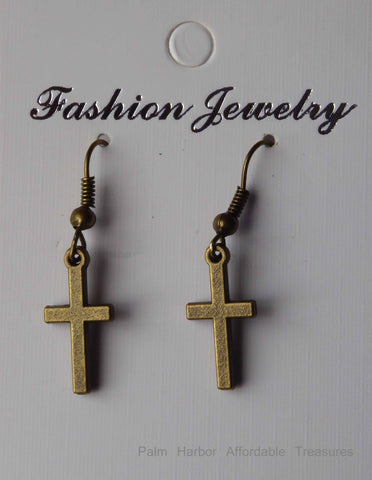 Bronze Cross Earrings (E651)