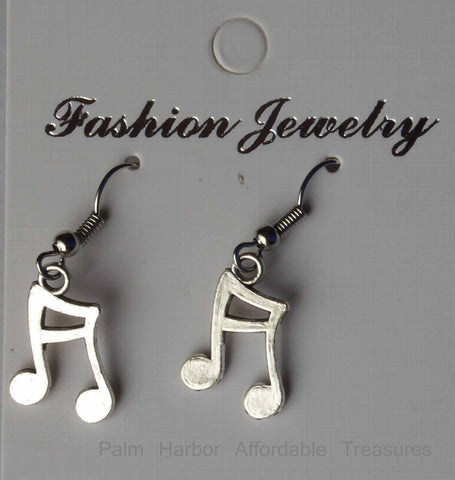 Silver Musical Note Earrings (E653)