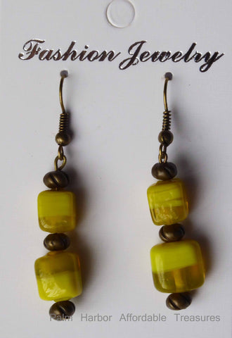 Bronze Yellow Square Glass Bead Earrings (E658)