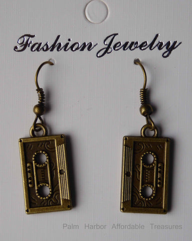 Bronze Cassette Tape Earrings (E659)