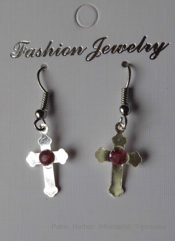 Silver Cross with Pink Diamond Earrings (E660)