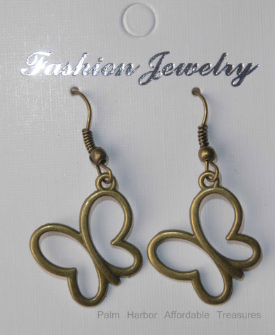 Bronze Hollow Butterfly Earrings (E661)
