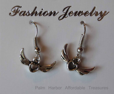 Silver Heart Wings Earrings (E667)