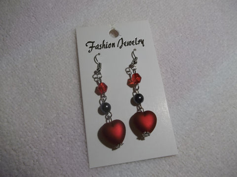 Silver Red Heart Earrings (E675)