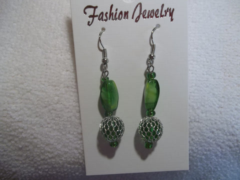 Silver Green Glass Bead Earrings (E680)