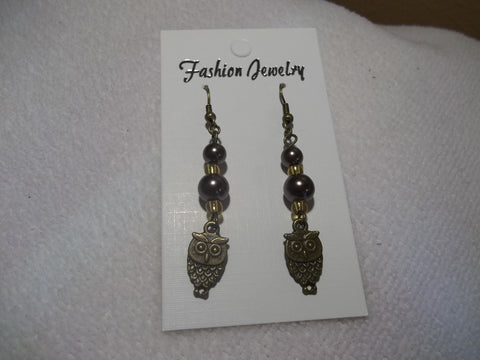 Bronze Brown Glass Bead Bronze Owls Earrings (E682)