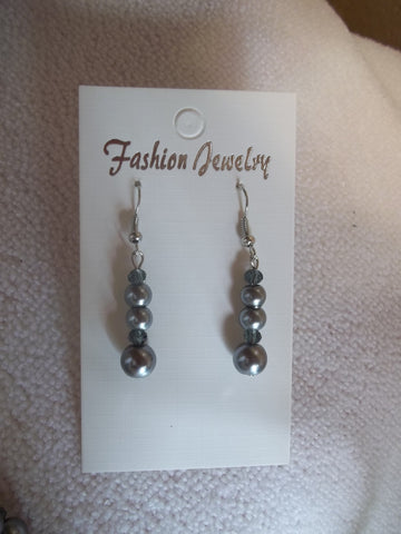 Gray Glass Beads Crystal Earrings (E683)