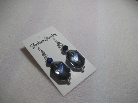 Silver Blue Crystal Earrings (E684)