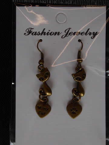 Bronze Short Cat Sitting Love my Cat Paw Heart Earrings (E690)
